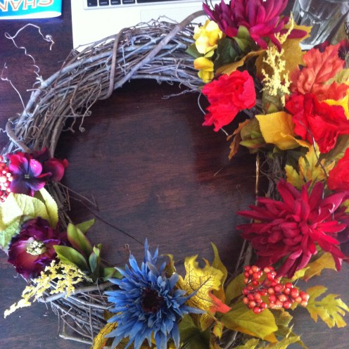 completed fall grapevine wreath