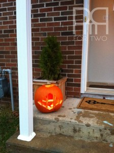 monogram pumpkin on front porch halloween
