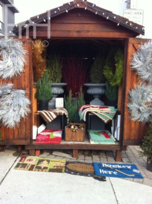 outdoor christmas hut