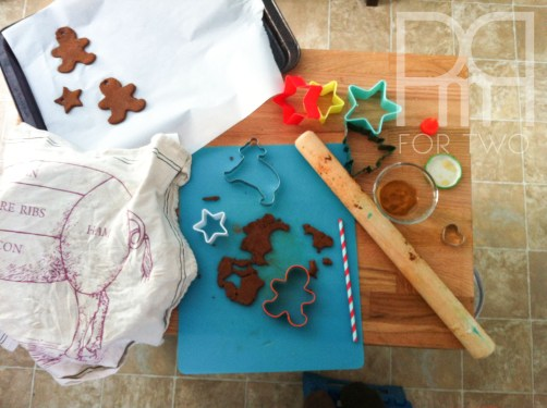 bear and gignerbread man cinnamon dough christmas ornaments