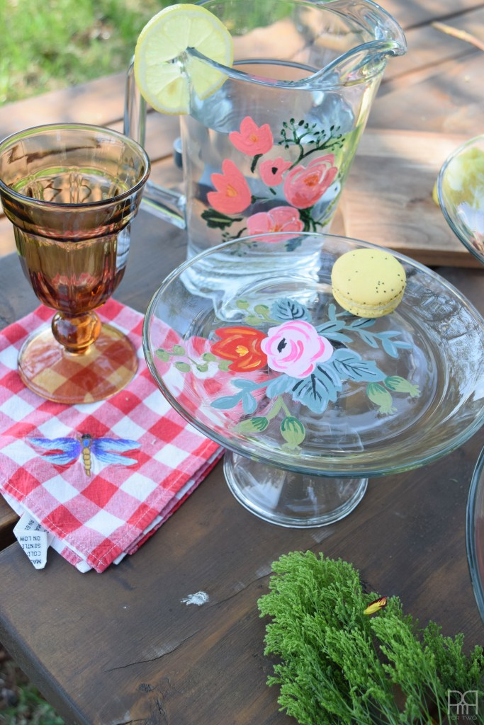 Painted Florals on Glassware cake plate