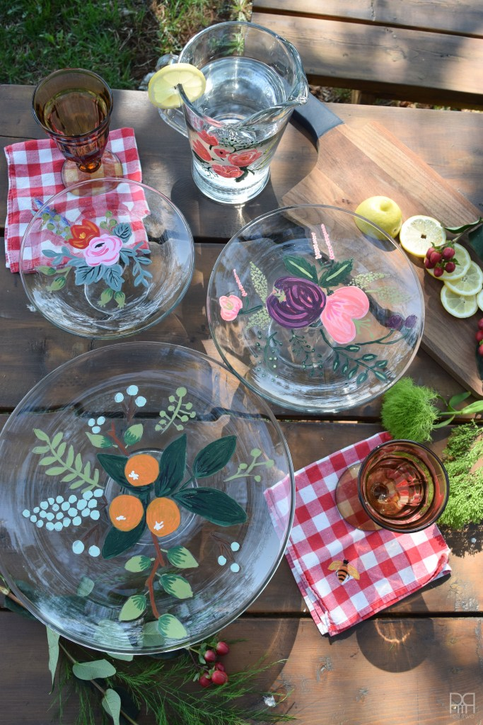 Painted Florals on Glassware on table
