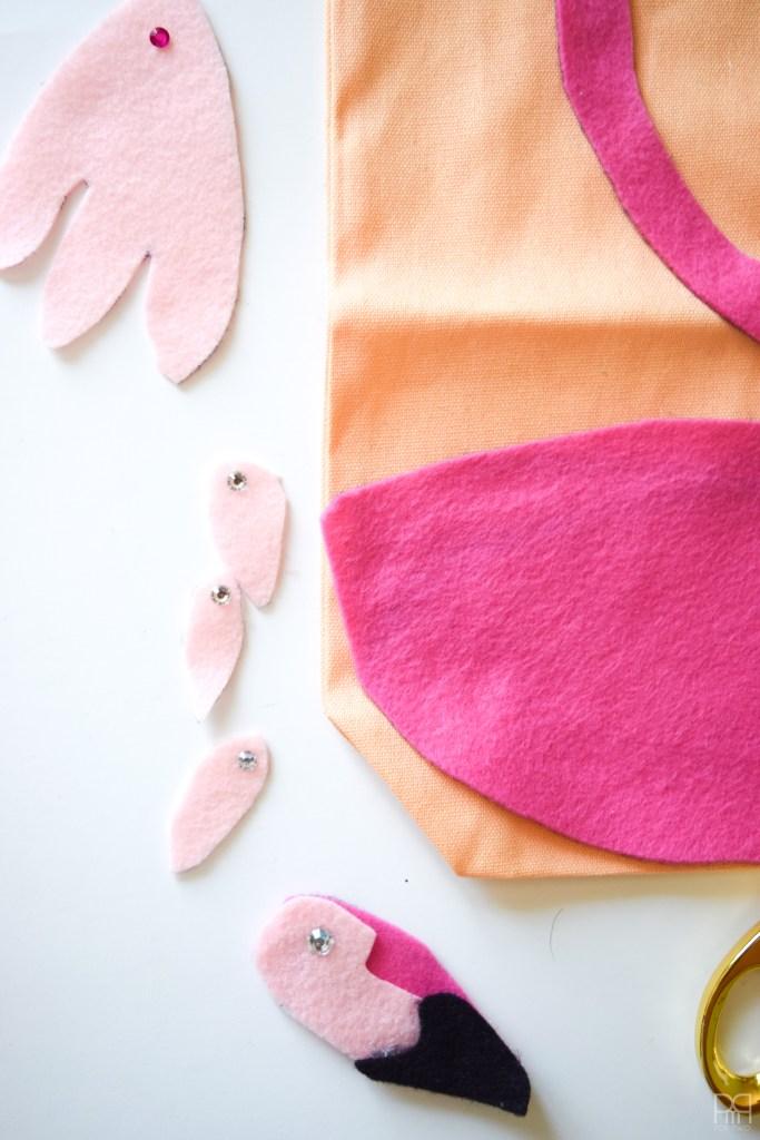 Felt Flamingo Bag with felt