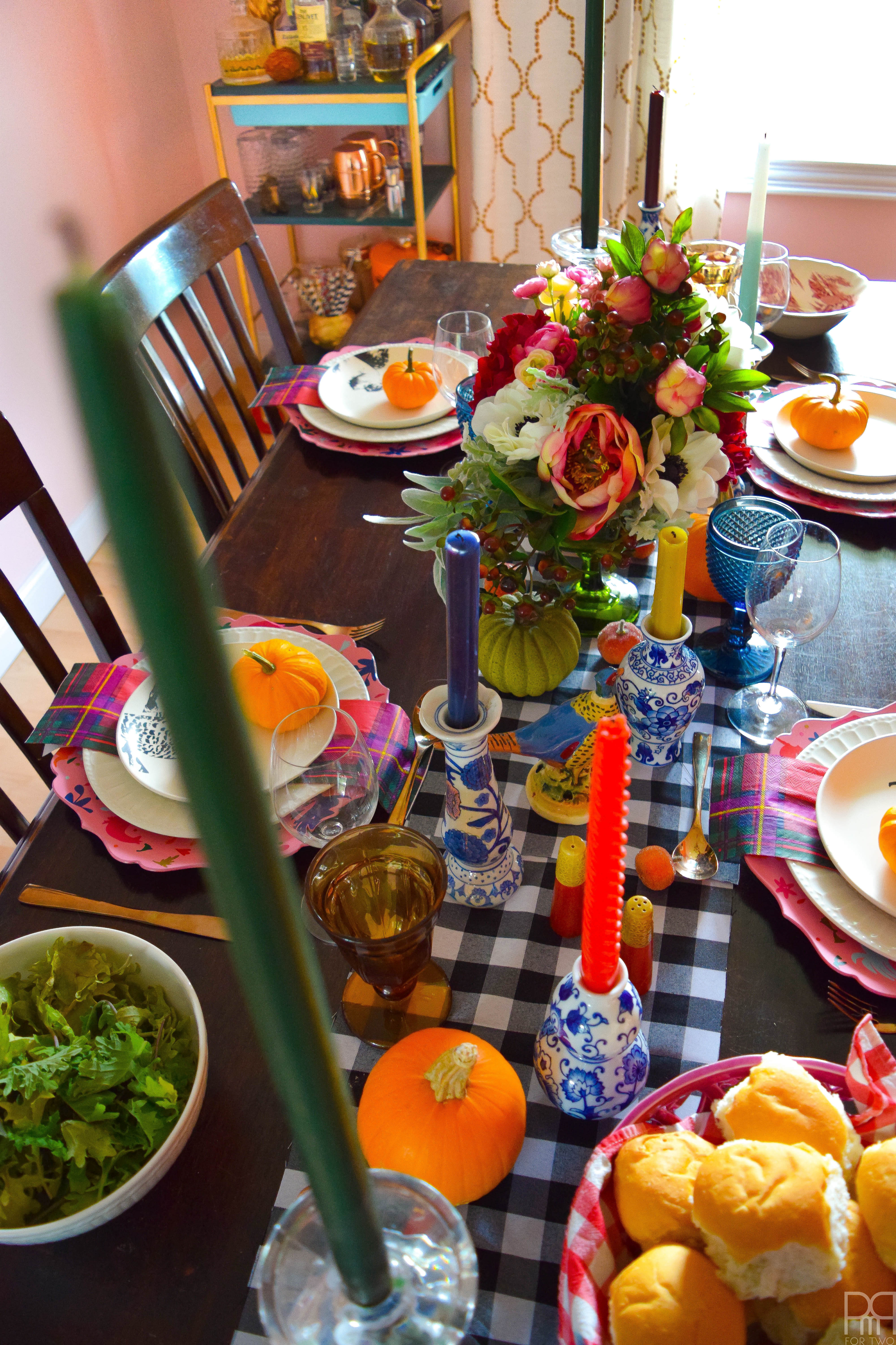 An eclectic and colourful thanksgiving tablecape that puts hearth and home, colours of all kind and bold patterns on display in a season of giving.