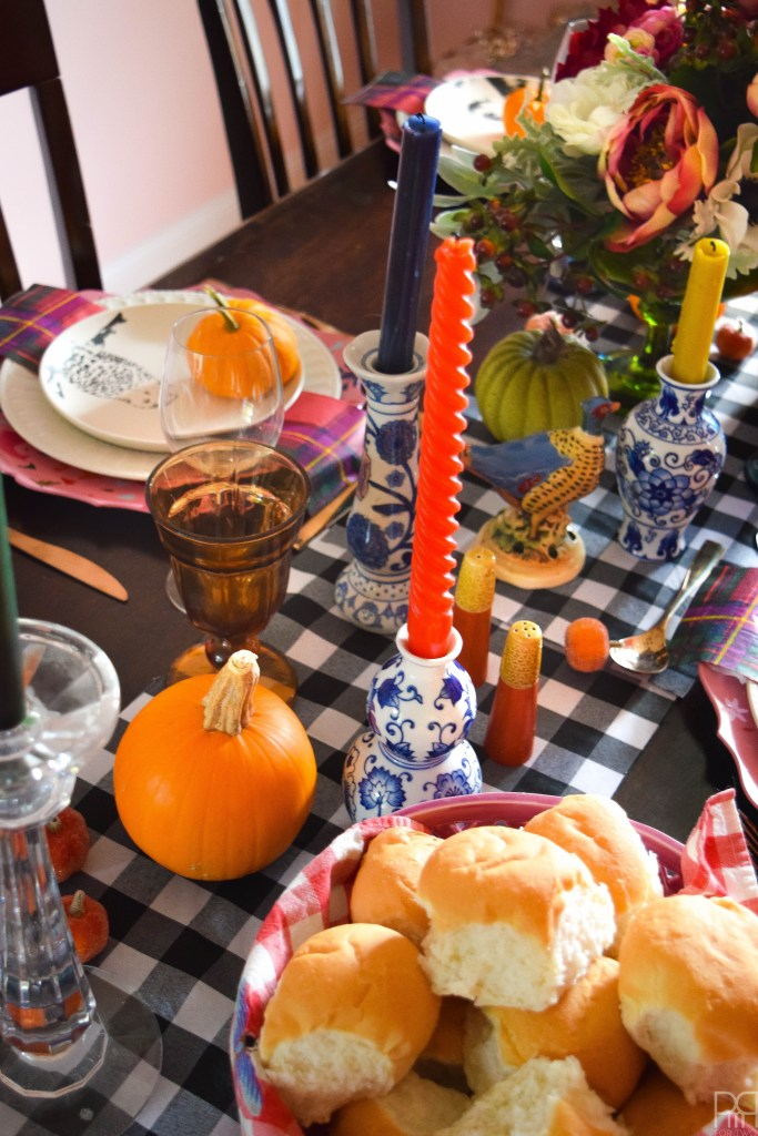 An eclectic thanksgiving tablecape that puts hearth and home, colours of all kind and bold patterns on display in a season of giving.