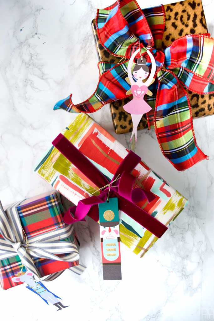 Using thick and luxurious paints I created my own festive holiday wrapping paper.