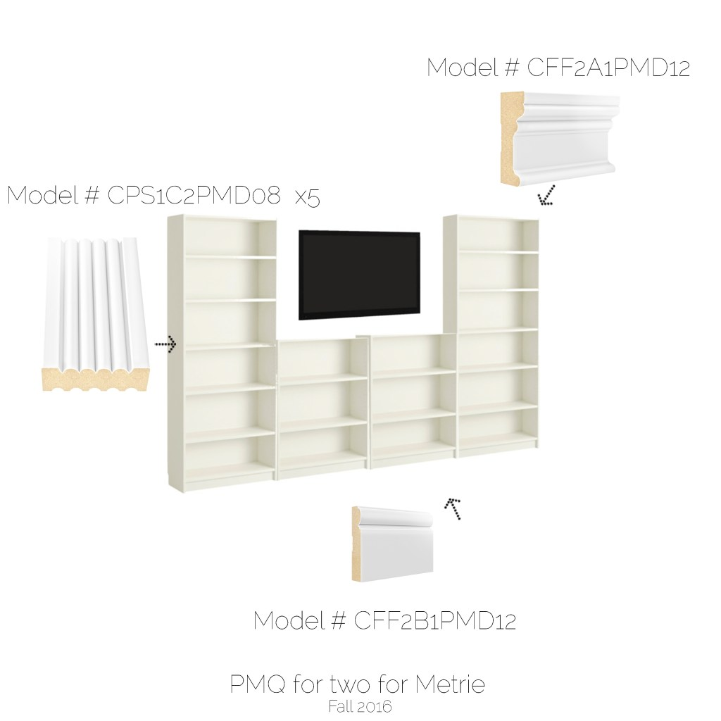 pmq-for-twoUsing an IKEA bookshelf system and custom millwork we created rent-er friendly built-ins that can be moved when we move too!