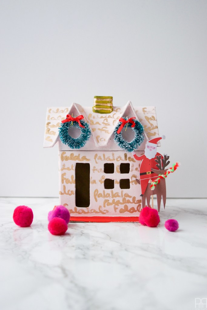Colourful Christmas Putz Houses with pompoms