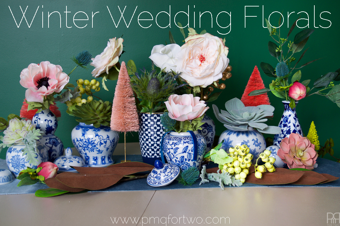 Winter Wedding Florals like you've never seen them before! Full of greens & blues with hints of pink. Do you have a winter wedding planned?