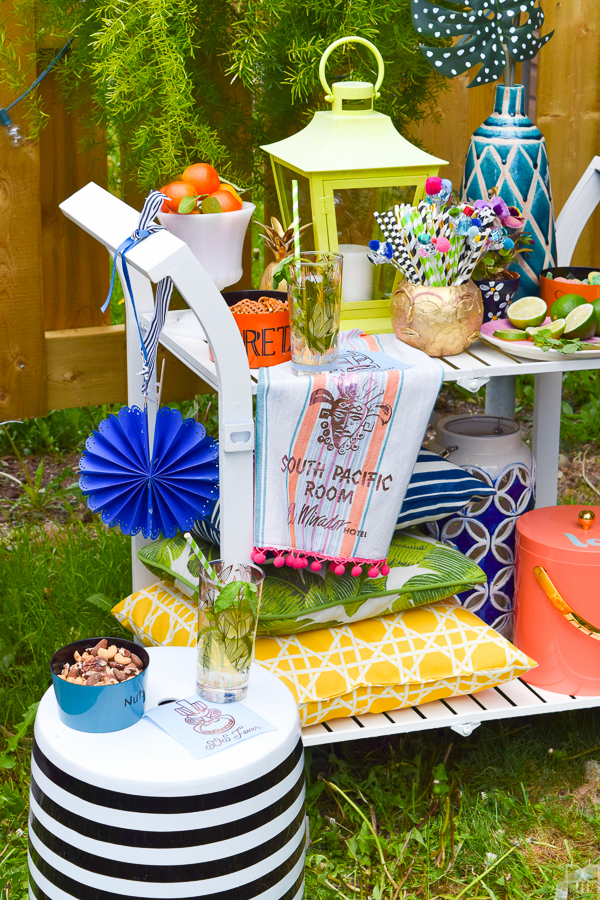 Using my Cricut Explore Air 2 I created some cute linens for our summer bar cart. Using retro beach-side bars and hotels as my theme, I made some funky and kitschy tiki themed linens.