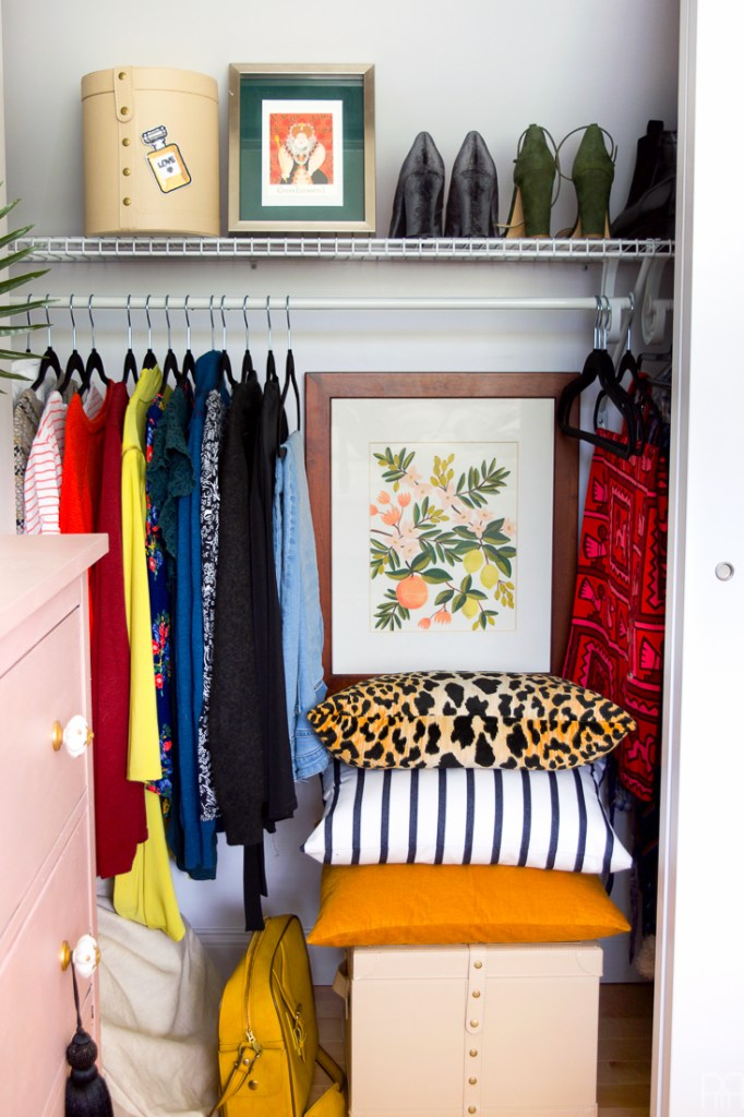 With the help of a zebra wicker laundry hamper named Wilfredo (from the craftsman at MacKenzie-Childs) I turned out boring rental closet into an eclectic and functional situation complete with leather trunks for storing purses and space for all my high-heels.