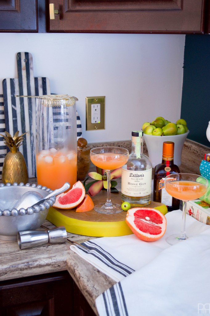 The Pink Pearl is the answer to the long pondered question: what pairs well with grapefruit juice? Cointreau and rose gin of course! this 4 ingredient cocktail is super simple and sure to put a zing in your step with its fruity and zesty notes.