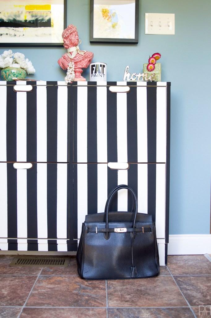 Black and White Stripe IKEA Shoe Cabinet Hack