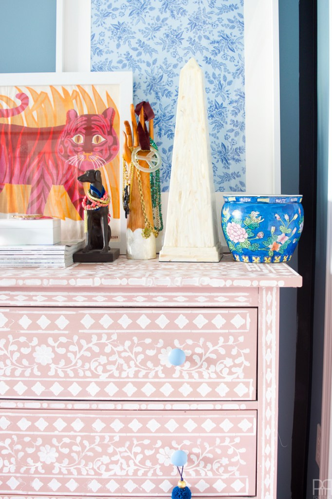 DIY Bone Inlay Stencilled Dresser