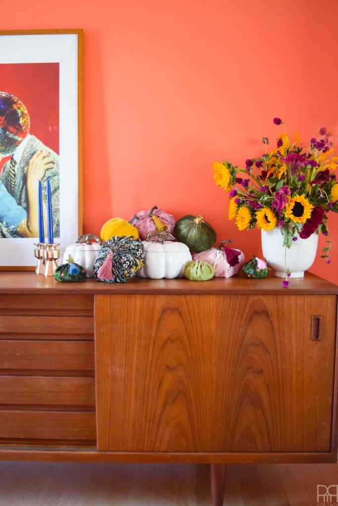 pumpkins on a sideboard