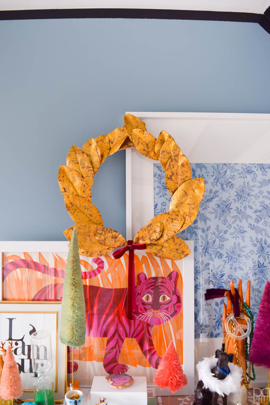 Gold Leaf Magnolia Wreath and small seasonal decor touches for the bedroom
