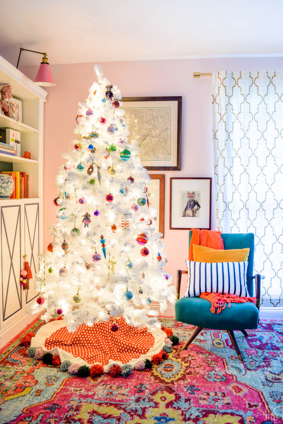 A Retro White Christmas Tree is all you need to display your colourful ornaments and more. We got ours at Canadian Tire and love it!