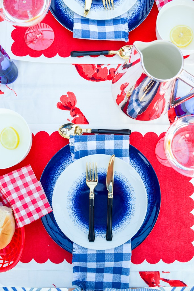 flat lay of summer seafood tablescape