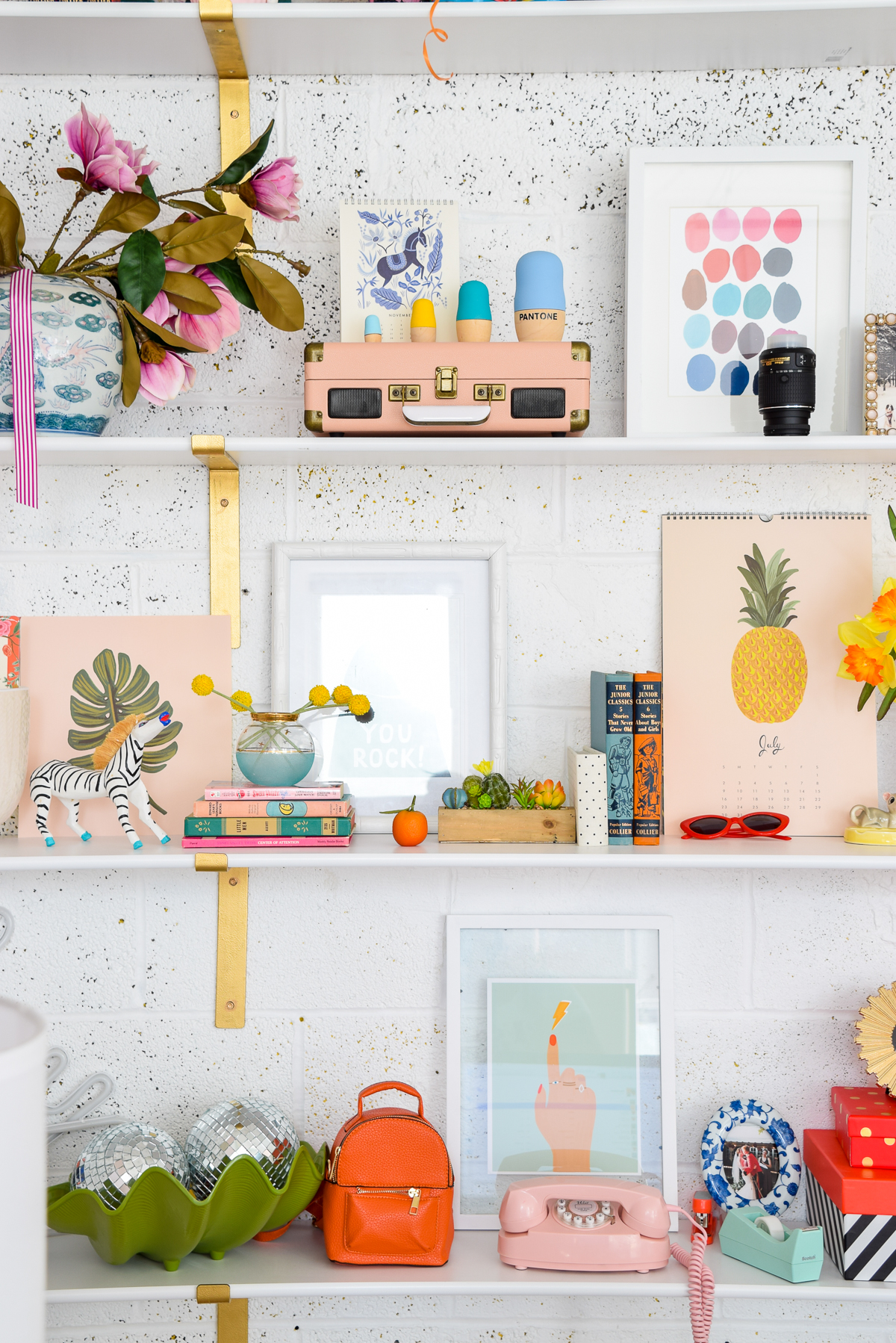 colourful decorated shelves