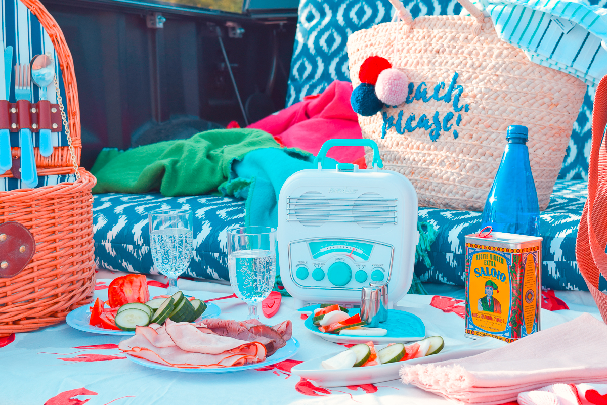 beach picnic out the back of a truck