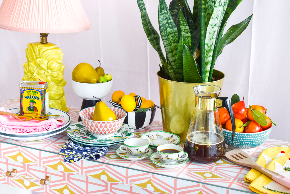 food on a colourful sideboard