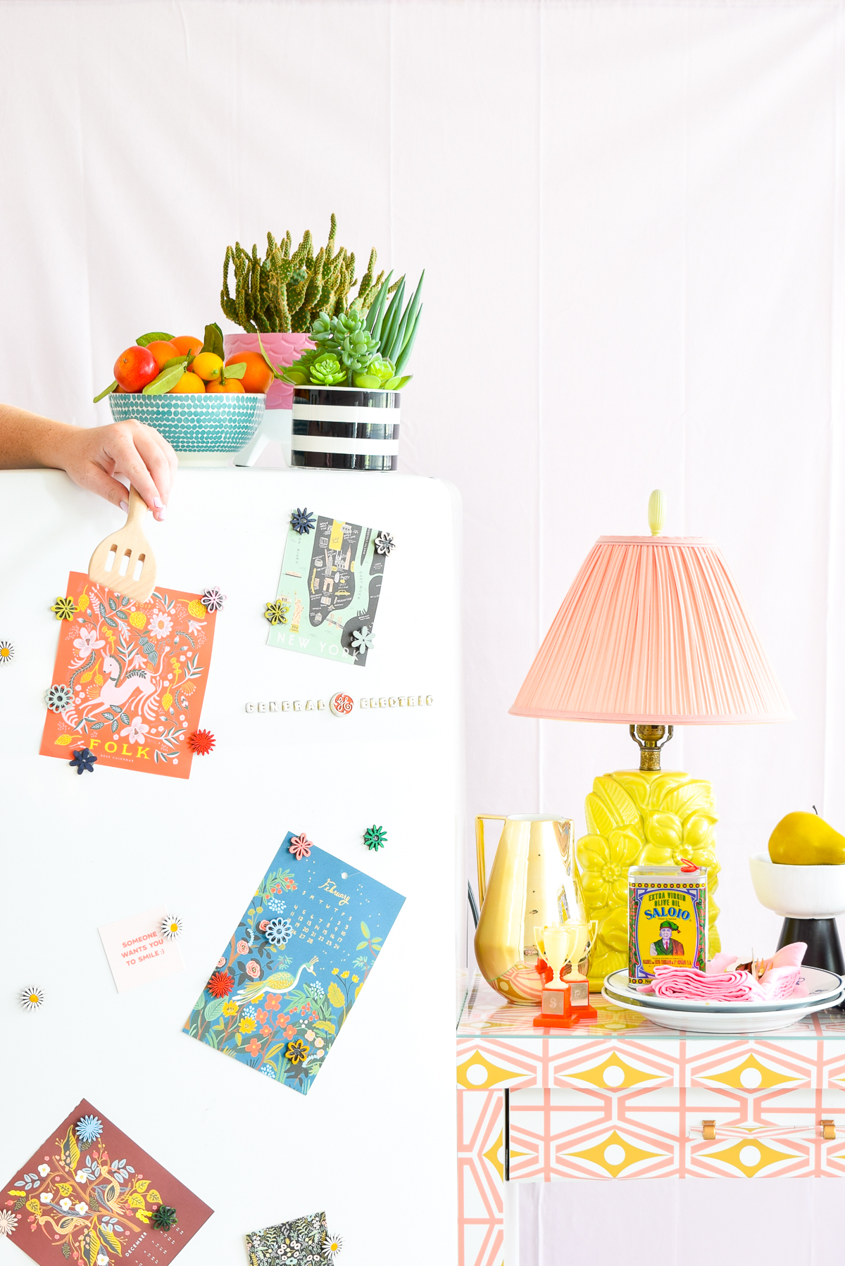 fridge and countertop in bright colors and patterns