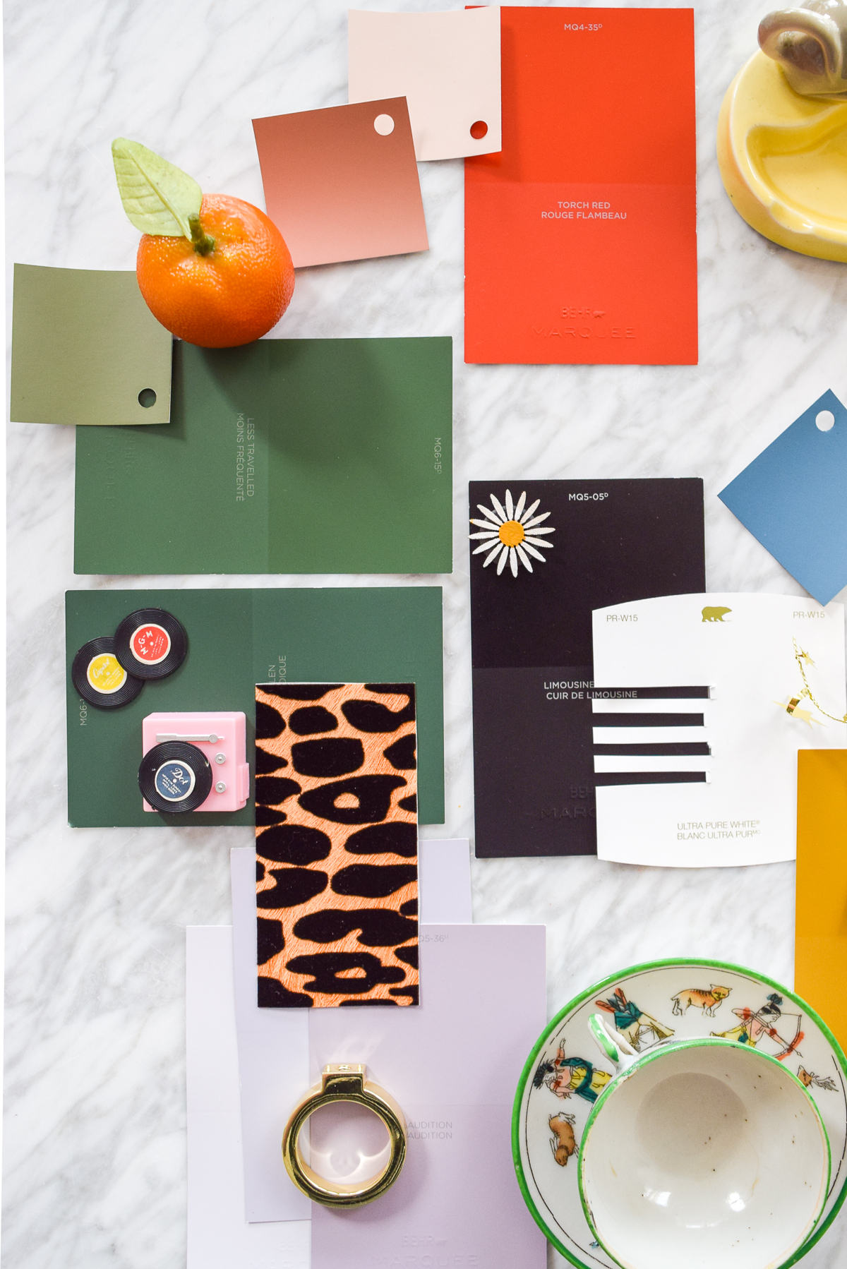 paint chip flat lay