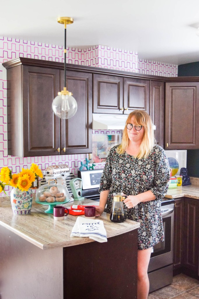 DIY Removable Wallpaper Backsplash