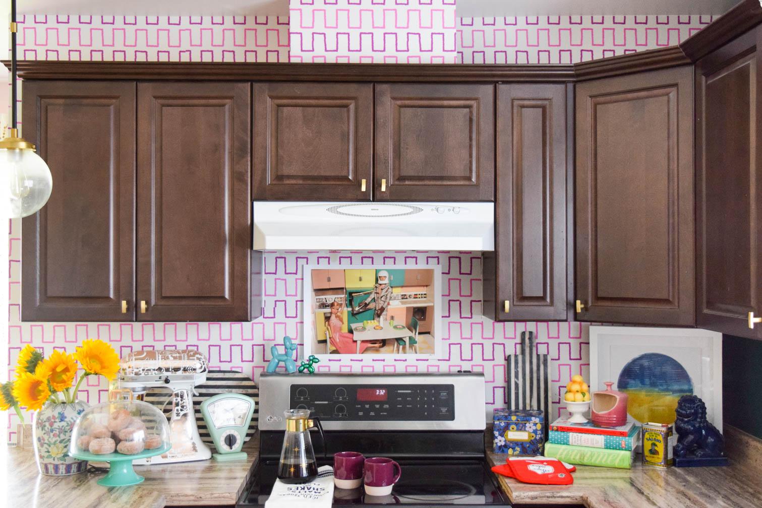 Dark Kitchen Cupboards With Wallpaper Backsplash
