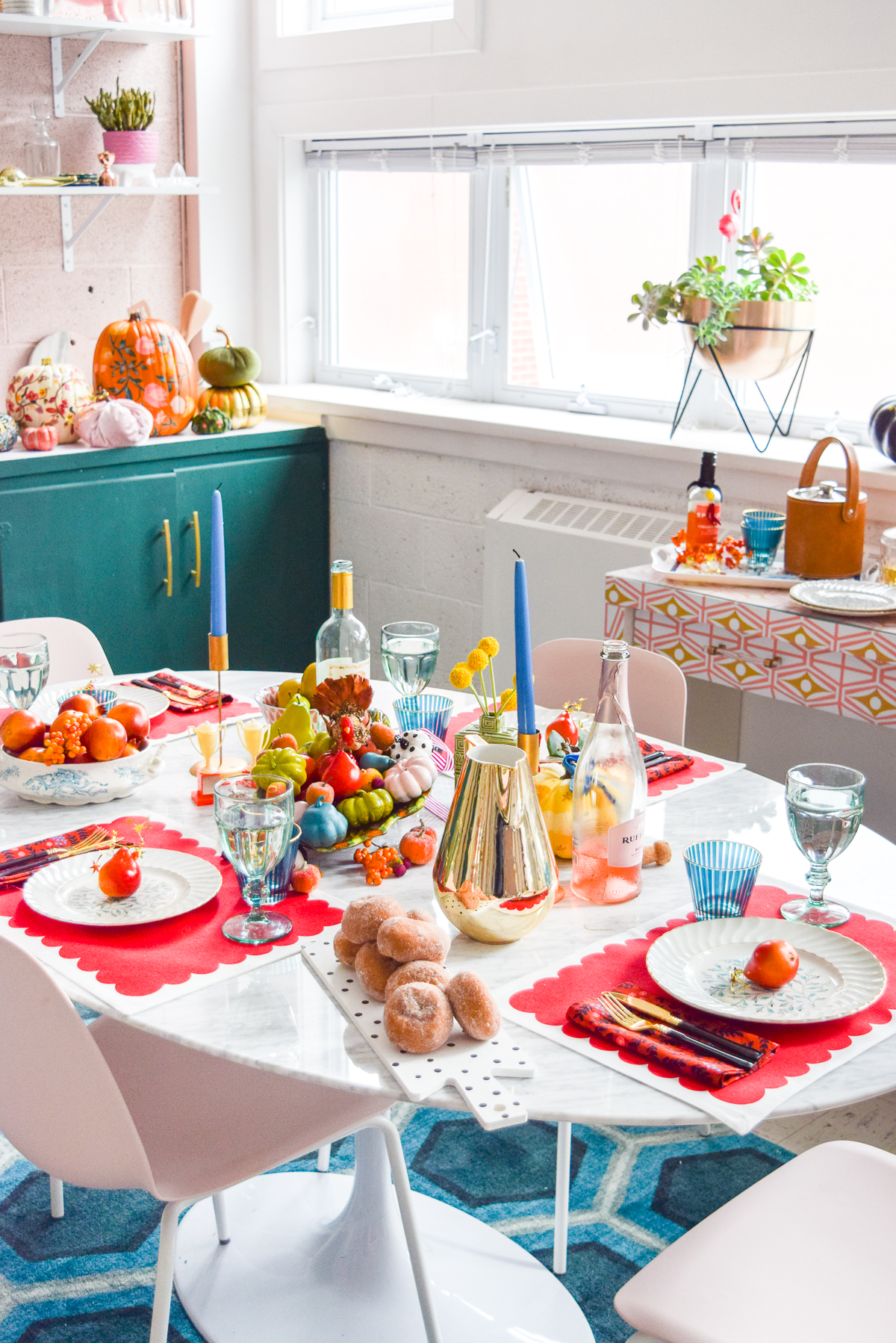colourful fall tablescape on a marble table