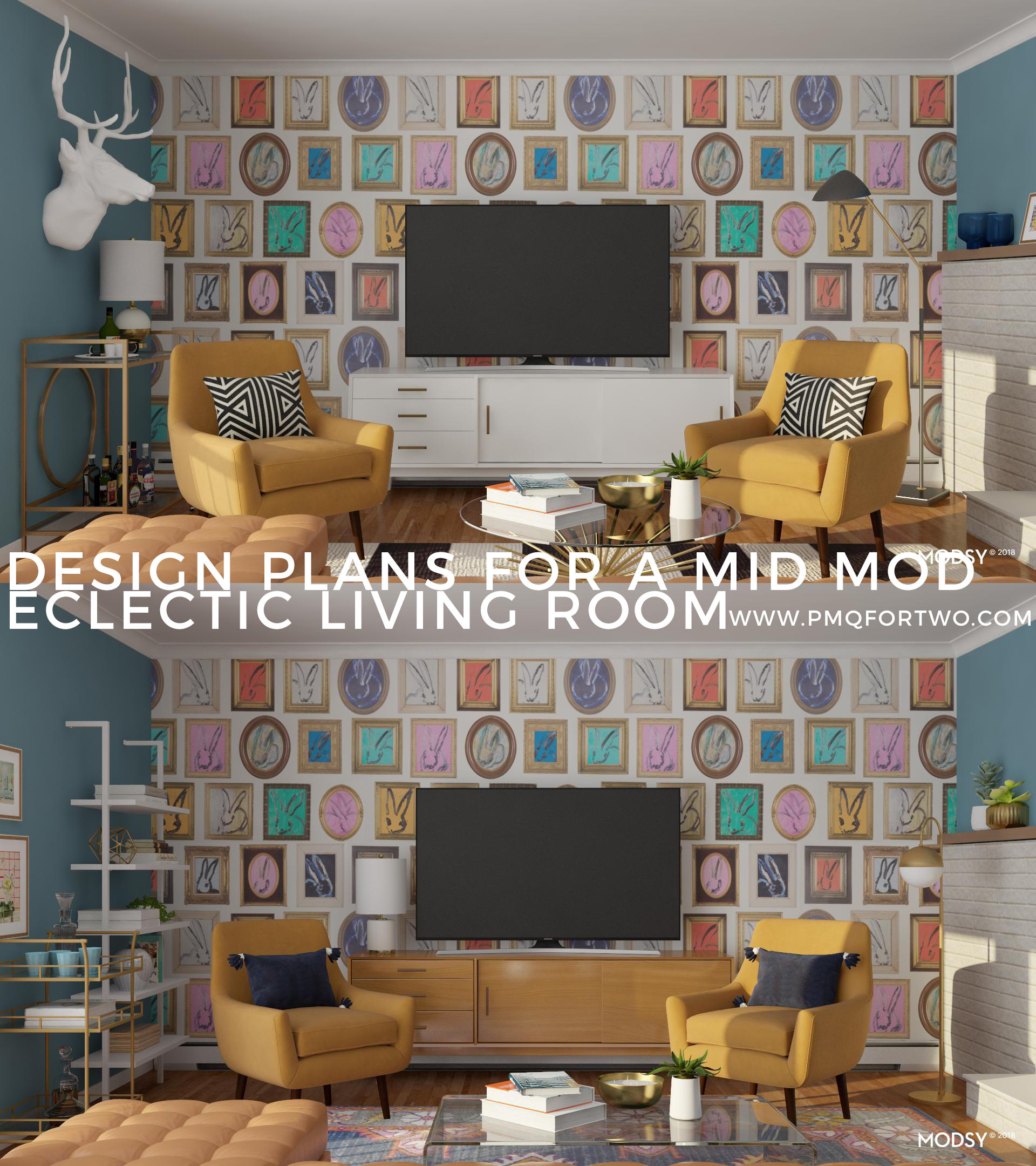 design plans for a mid mod eclectic living room pmq for two