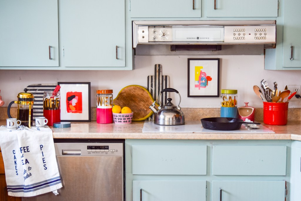 DIY Colour blocked Kitchen Canisters