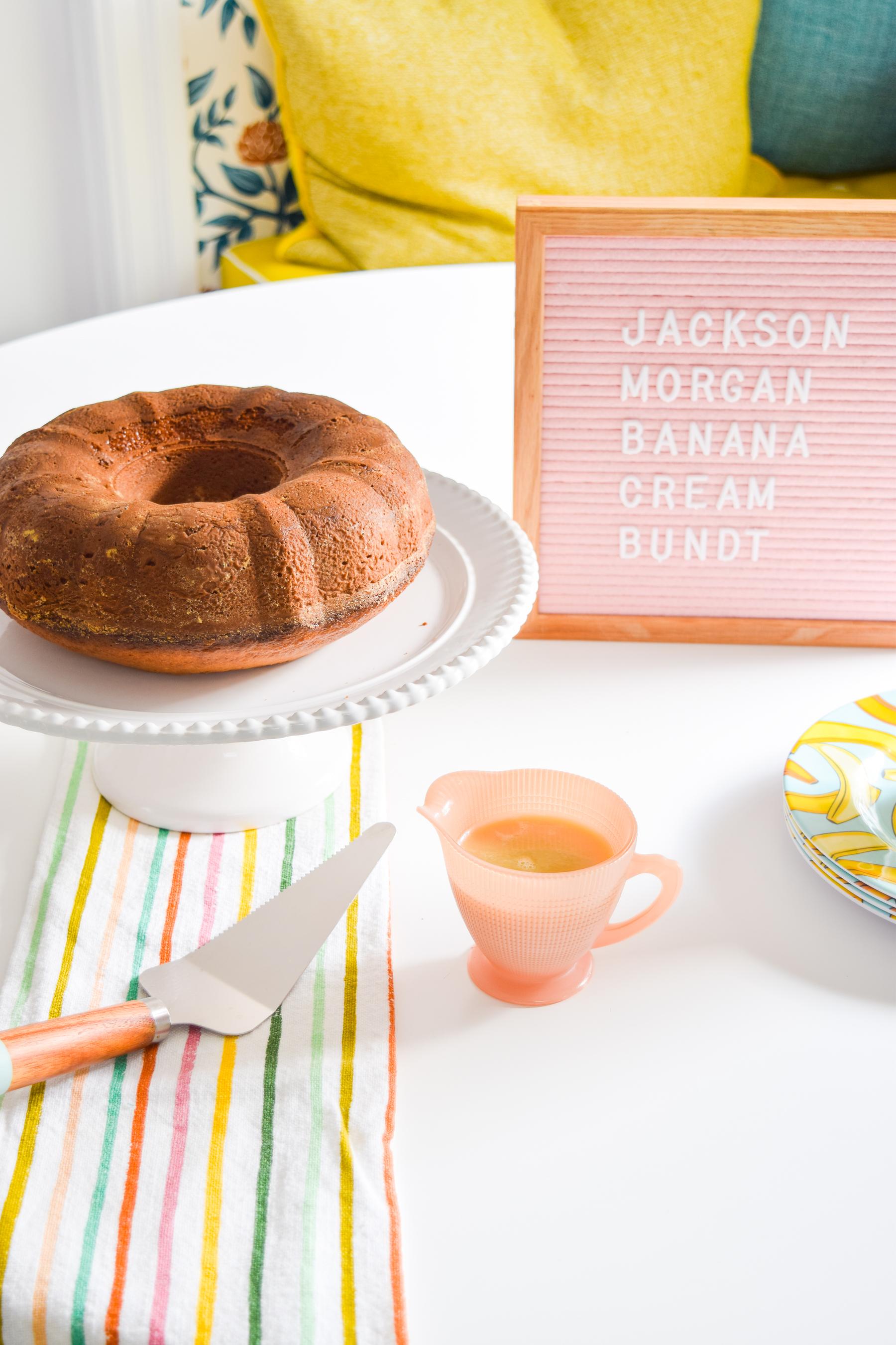 A Whiskey Banana Cream Bundt Cake is easier to make than you'd think (cake mix + Jackson Morgan Banana Pudding Cream), and tastes like creamy banana pudding goodness.