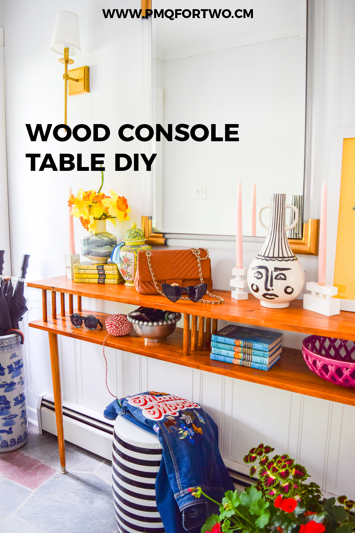 A wood console table DIY you can make without screws! Get the sleek mid century modern look using pine boards and dowels from the Home Depot. Grab the plans on the blog!