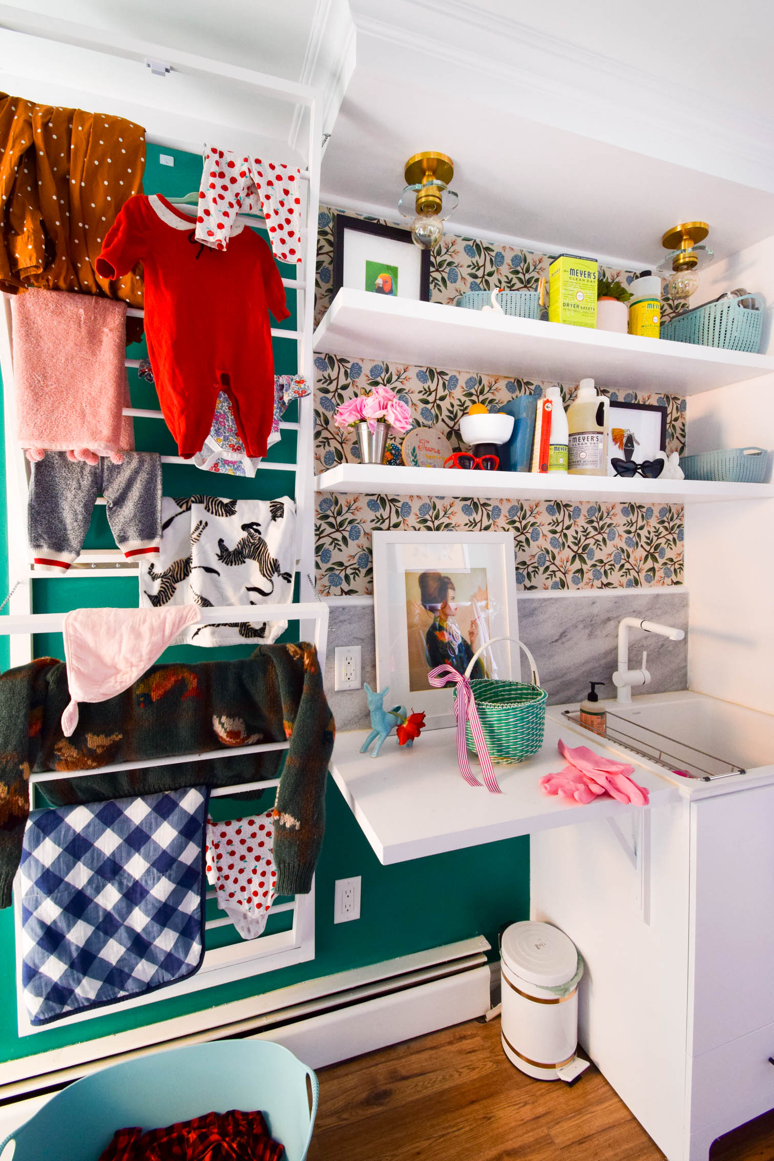 This shared mud room and colorful vintage laundry room, is the perfect antidote to the boring white spaces. Life is colorful, and so are these spaces.