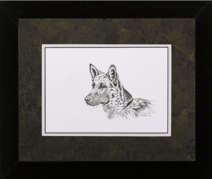 """David Ruimveld art for the chapter entitled """"Lollipop Girl"""" within Bob Linsenman's book """"Water Songs."""" This original black and white painting is framed with a textured black & gold matting and a white inner mat in black frames. Conservation clear glass. Frame size is 15"""" x 18""""."""