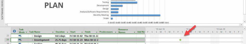 Create a deadline in MS Project 2016- task deadline icon