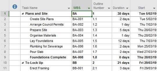 Creating WBS Codes in Microsoft Project 2016 -5