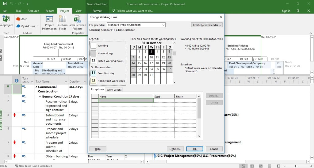 MS.Project: Change Working Hours 2