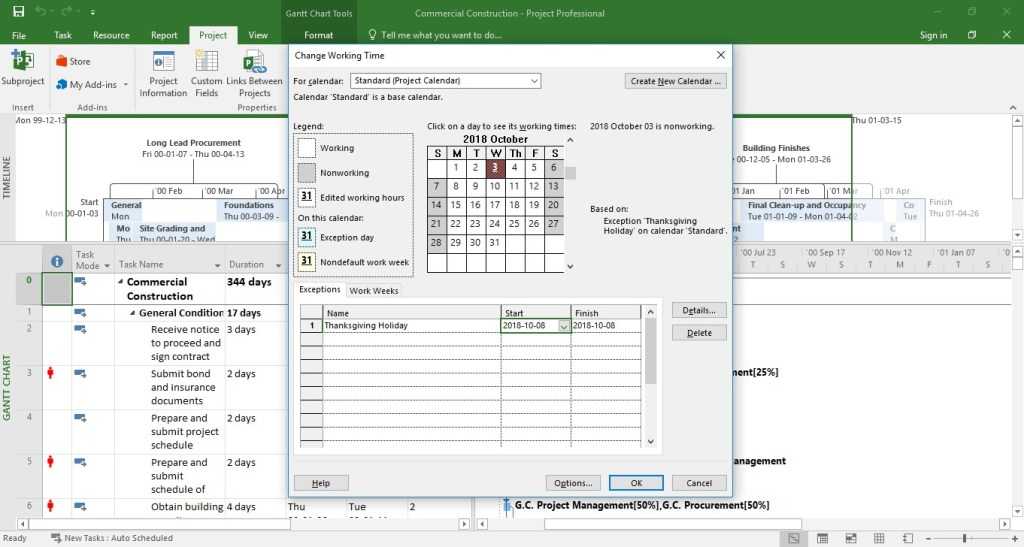 MS.Project:Set up a recurring nonworking time