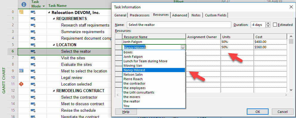 Assign Resources in Microsoft Project