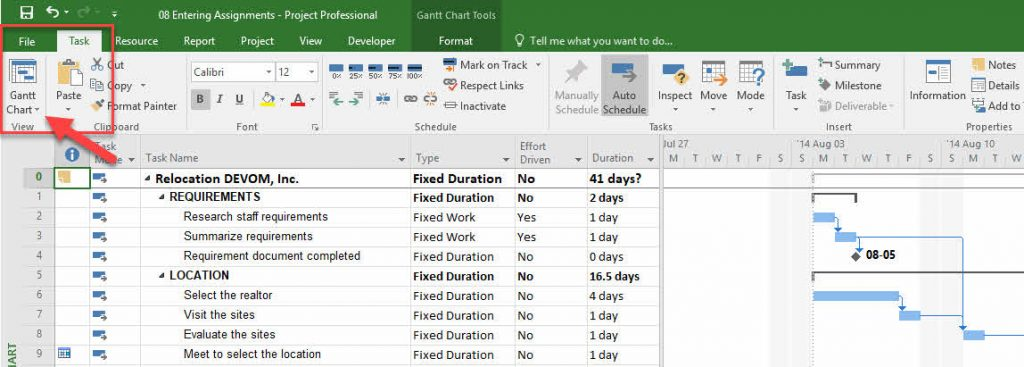 Gantt Chart View in MS.Project