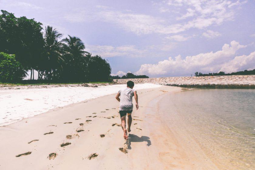 guy, running, beach, fitness