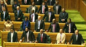 The MPs stand in support of the PM