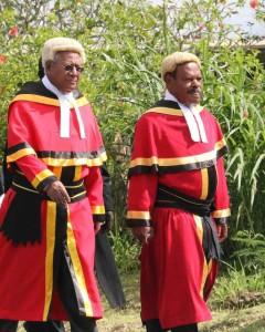 Sir Kina Bona and Sir Salamo Injia at the legal year opening, Bougainville, 2015