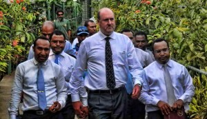 Sam Koim leaves the Waigani court - with his illegal counsel