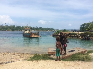 The car ferry in the capital of Buka - at present, peace reigns