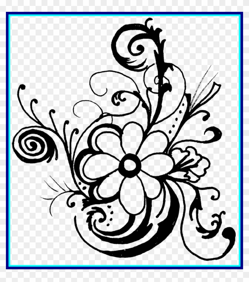 Rose Flower Vector Royalty Free Stock Black And White Flower Black And White Clipart Borders Hd Png Download 1402x1527 1473448 Pngfind