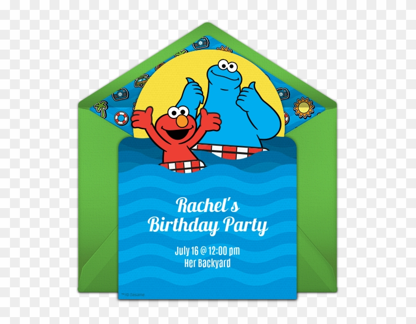 elmo pool party invitations hd png