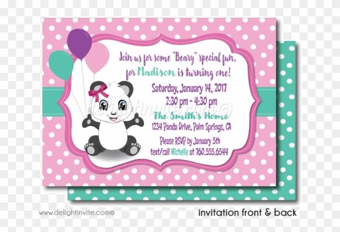 S Panda 1st Birthday Invitations